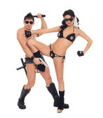Two dancers dressed as police — Stock Photo