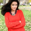Autumn portrait of a girl in a red sweater — Stock Photo