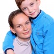 Young happy cheerful mother with little son — Stock Photo