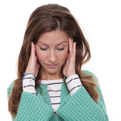 Woman tests a headache — Stockfoto