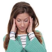 Woman tests a headache — Stock Photo