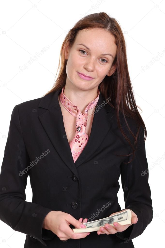 Young woman holding a 100 dollar bill — Stock Photo #14404803