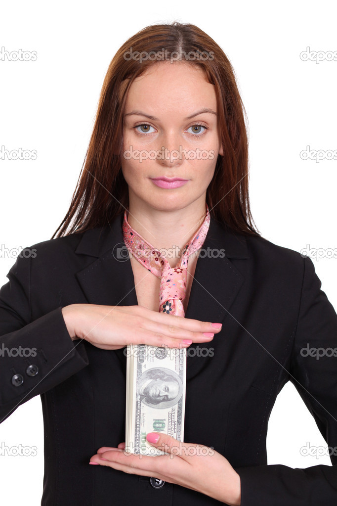 Young woman holding a 100 dollar bill — Stock Photo #14404833