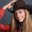 Young lady in a cowboy hat - Foto Stock
