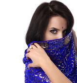 Blauwe sari — Stockfoto