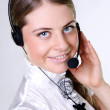 Business woman with headset — Stock Photo