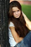 Beautiful young girl smiling — Stock Photo