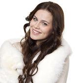 在针织上衣美丽幸福的女人的肖像 — 图库照片