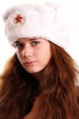 Russian woman in a furry hat — Stock Photo