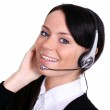 Portrait of a confident young female customer service agent with headset — Stock Photo #19269277