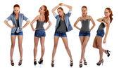 Ritratto di lunghezza piena di belle donne — Foto Stock