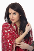 Young beautiful woman in sari — Stock Photo