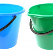 Two empty bucket on white background — Stock Photo