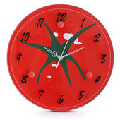 Large office wall clock showing time isolated on white — Stock Photo