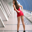 Foto Stock: Lady in red dress