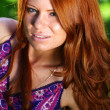 Portrait of red-haired beautiful young woman — Stock Photo