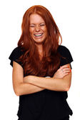 Vary happy redhaed young woman — Stock Photo