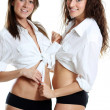 Couple women in white sexy shirt — Stock Photo