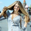 Beautiful russian girl in Moscow — Stock Photo