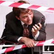 Business man talking on mobile phone — Foto Stock