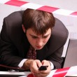 Business man talking on mobile phone — Stock Photo