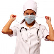 Young sexy woman dressed as a nurse — Stock Photo