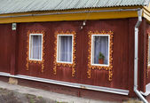 Three window of old wooden house — Stock Photo