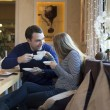 Stock Photo: Couple lovers in caffe