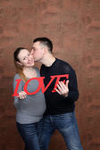 Young couple family pregnant — Stock Photo