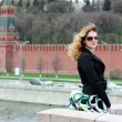 Young Woman tourist in Moscow — Stock Photo