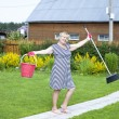 Pensioner in the country cottage with a bucket and mop — Stock Photo #28514667