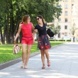 Two young women walking in the summer city — Stock Photo #28549959