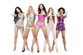Five young women in bikini — Stock Photo