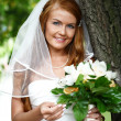 Beautiful red hair bride wearing wedding dress — Stock Photo
