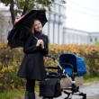 Mother with baby stroller for a newborn — Stock Photo