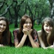 Three young women lying on a green lawn — Stock Photo #34401259