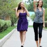 Cheerful girls in the street — Stock Photo #34401275