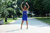 Lady in blue dress — Stock Photo