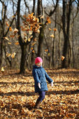 One little girl in autumn forest — Stock Photo