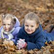 Two sisters in autumn park — Stock Photo #34894239