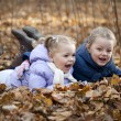 Two sisters in autumn park — Stock Photo #34894257