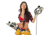 Sexy young woman shows construction tools — Stock Photo