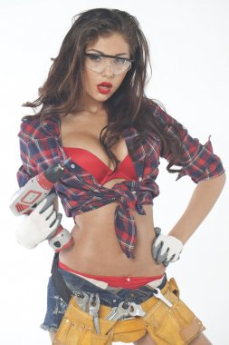 Beautiful young brunette in a plaid shirt