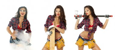 Collage. Sexy girl with construction tools