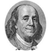 Enigmatic smile of Benjamin Franklin — Stock Photo