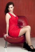 Fashion model in sexy red dress — Fotografia Stock