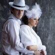 Gangster and the lady in a romantic moment — Stock Photo #40003743