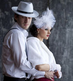 Gangster and the lady in a romantic moment — Stock Photo
