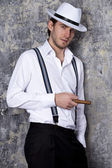 One man in shirt and white hat — Stock Photo