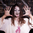 Scary looking zombie woman — Stock Photo